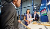 Manufacturing management connects with customers