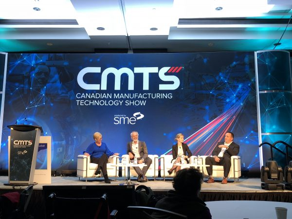 """Attracting Tomorrow's Manufacturing Workforce"" panel at CMTS 2019 from left: Rhonda Barnet, president of AVIT Manufacturing; Chris McLean, HR manager workforce planning and development for Toyota Motor Manufacturing Canada; Mihaela Vlasea, assistant professor at University of Waterloo; and Steve Bonney, regional industry and OEM sales manager, Rockwell Automation. Photo by Manufacturing AUTOMATION"