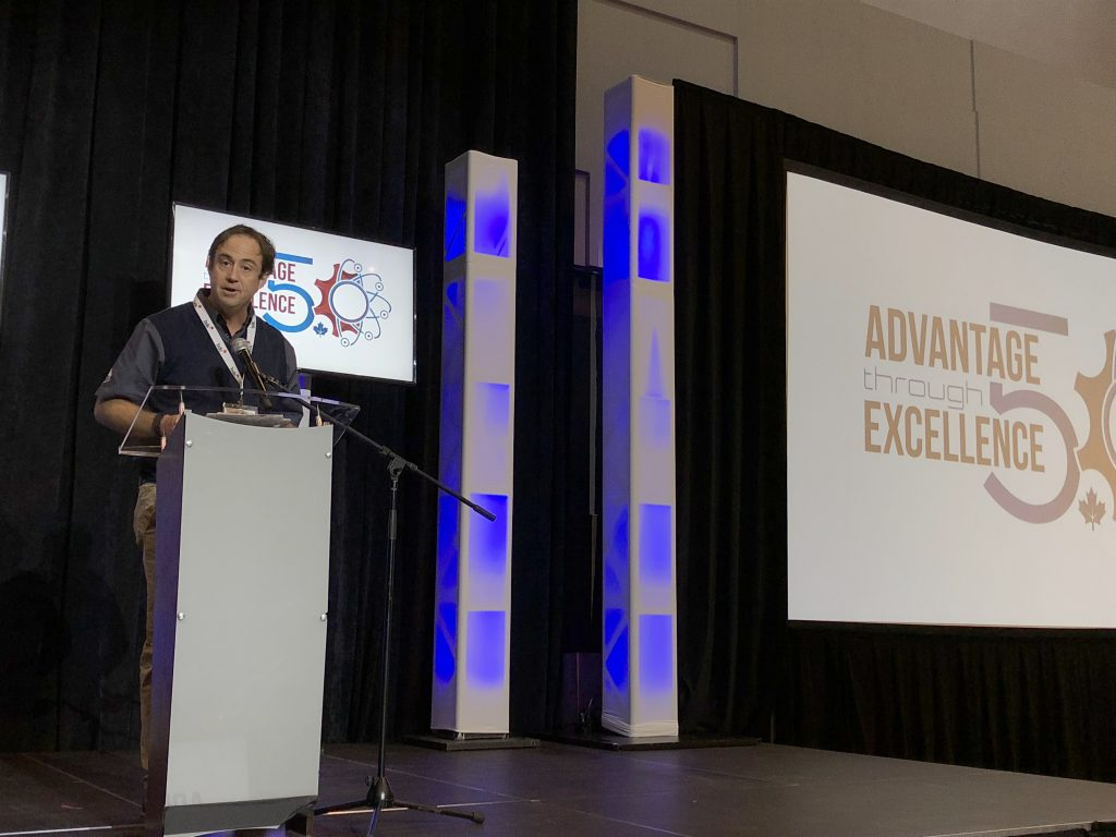 Jean-Pierre Giroux, EMC president, at the Advantage Through Excellence – Future of Manufacturing Conference. Photo © Manufacturing AUTOMATION