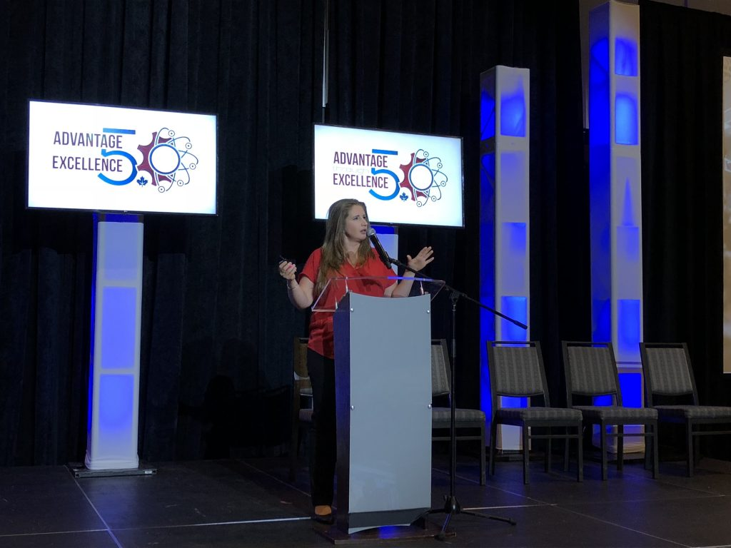 Michelle Chrétien, director of the Centre for Advanced Manufacturing & Design Technology at Sheridan College, at EMC's Advantage Through Excellence –Future of Manufacturing Conference. Photo © Manufacturing AUTOMATION