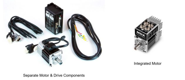 While the conventional servo motor (left) requires an external servo drive and discrete cables for power and feedback connections, the integrated servo motor (right) eliminates these additional components, offering a space-saving solution for machine and robot builders.