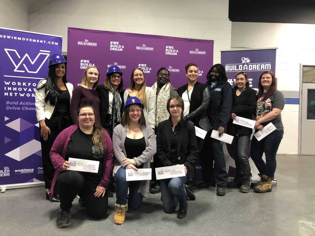 Nour Hachem-Fawaz (back row, left), founder of Build a Dream, along with Build a Dream mentors and participants, accepted $728,000 in funding from Labour Minister Filomena Tassi (back row, third from left). Photo: Filomena Tassi/Twitter