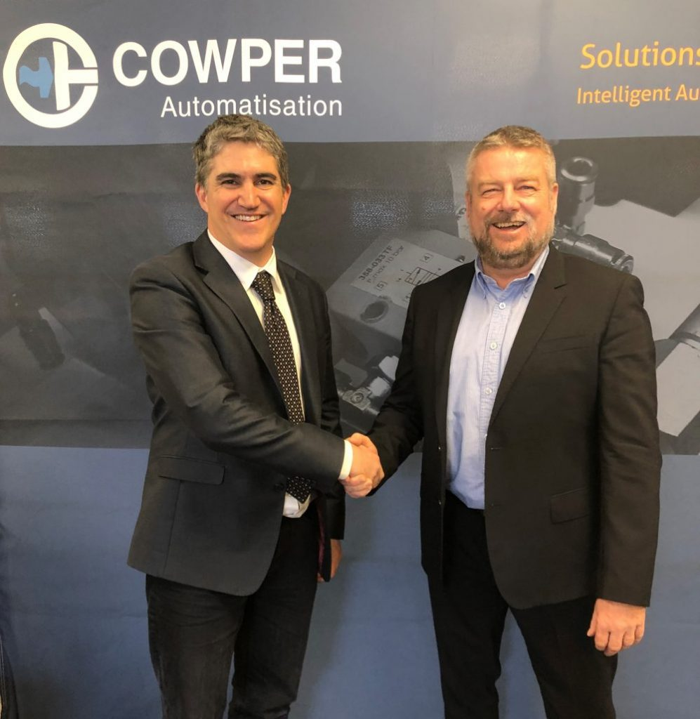 Gren Cowper, president of Cowper Automation (left), with Andreas Sobotta, CEO of Pilz Canada (right). Photo: Pilz Automation Safety Canada L.P.