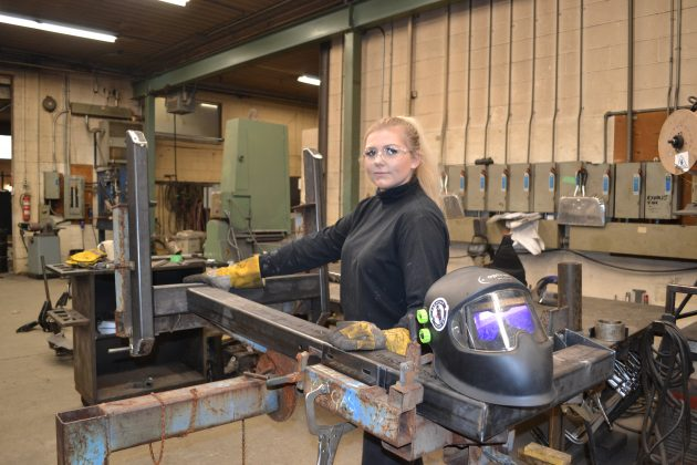 Alicia Butty, a.k.a. Canadian Welder Girl, on the job at Butty Manufacturing. Photo: Kristina Urquhart/Manufacturing AUTOMATION